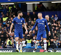 Chelsea's Olivier Giroud and Ross Barkley celebrate their sides third goal<br /> <br /> Photographer Stephanie Meek/CameraSport<br /> <br /> The Premier League - Chelsea v Everton - Sunday 8th March 2020 - Stamford Bridge - London<br /> <br /> World Copyright © 2020 CameraSport. All rights reserved. 43 Linden Ave. Countesthorpe. Leicester. England. LE8 5PG - Tel: +44 (0) 116 277 4147 - admin@camerasport.com - www.camerasport.com