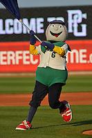 Cedar Rapids Kernels mascot, Mr. Shucks, prior to the game against the Clinton LumberKings at Veterans Memorial Stadium on April 15, 2016 in Cedar Rapids, Iowa.  Clinton won 11-5.  (Dennis Hubbard/Four Seam Images)