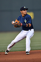 Shortstop Andres Gimenez (13) of the Columbia Fireflies plays defense in a game against the West Virginia Power on Friday, May 19, 2017, at Spirit Communications Park in Columbia, South Carolina. West Virginia won, 3-1. (Tom Priddy/Four Seam Images)