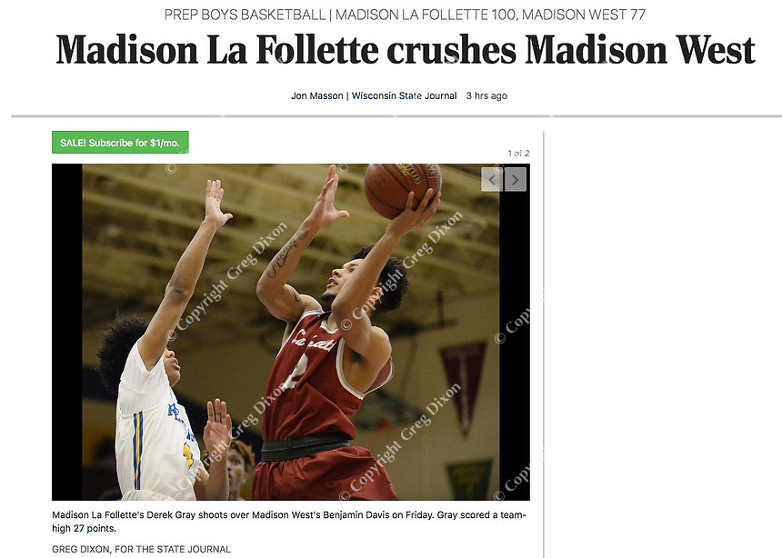 Madison La Follette's Derek Gray shoots over Madison West's Benjamin Davis, as Madison La Follette takes on Madison West in Wisconsin WIAA boys high school basketball on Friday, 1/24/20 at West High School   Wisconsin State Journal article front page C1 Sports 1/25/20 and online at https://madison.com/wsj/sports/high-school/basketball/boys/madison-la-follette-crushes-madison-west/article_79755193-aec1-536f-8da2-8a79e86c1c94.html
