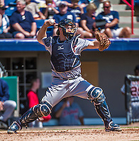 16 March 2014: Detroit Tigers catcher Bryan Holaday in action during a Spring Training Game against the Washington Nationals at Space Coast Stadium in Viera, Florida. The Tigers edged out the Nationals 2-1 in Grapefruit League play. Mandatory Credit: Ed Wolfstein Photo *** RAW (NEF) Image File Available ***