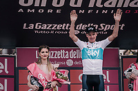 Chris Froome (GBR/SKY) retains the Maglia Rosa / overall leader ahead of the last stage in Rome<br /> <br /> stage 20: Susa - Cervinia (214km)<br /> 101th Giro d'Italia 2018