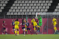KASHIMA, JAPAN - AUGUST 5: Adrianna Franch #18 of the United States grabs a ball as Sam Kerr #2 of Australia goes for the header during a game between Australia and USWNT at Kashima Soccer Stadium on August 5, 2021 in Kashima, Japan.