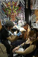 Seconda giornata dell'International Tattoo Expo, convention internazionale dell'arte del tatuaggio, a Roma, 10 maggio 2008..International Tattoo Expo in Rome, 10 may 2008..UPDATE IMAGES PRESS/Riccardo De Luca