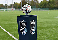 illustration picture showing the Scooore Super League ball holder with logo during a female soccer game between Club Brugge Dames YLA and Zulte Waregem Ladies on the third matchday of the 2020 - 2021 season of Belgian Scooore Womens Super League , saturday 3 October 2020  in Brugge , Belgium . PHOTO SPORTPIX.BE | SPP | DAVID CATRY