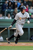 Left fielder John Murphy (3) of the Charleston RiverDogs bats in a game against the Greenville Drive on Wednesday, April 16, 2014, at Fluor Field at the West End in Greenville, South Carolina. Charleston won, 8-7. (Tom Priddy/Four Seam Images)