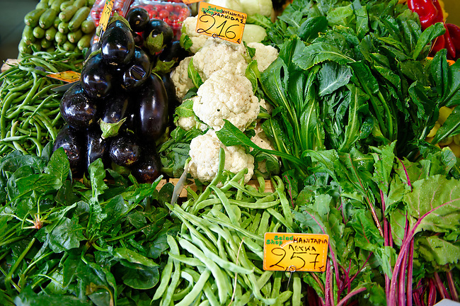 Fresh vegetables on a market stall in a market - Syros Greece