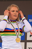 28th August 2021; Commezzadura, Trentino, Italy; 2021 Mountain Bike Cycling World Championships, Val di Sole;  Cross Country, Womens Under 23, Evie Richards (GBR)