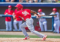 13 March 2016: St. Louis Cardinals outfielder Magneuris Sierra, ranked the 4th Top Prospect in the Cardinals organization for 2016 by MLB, in action during a pre-season Spring Training game against the Washington Nationals at Space Coast Stadium in Viera, Florida. The teams played to a 4-4 draw in Grapefruit League play. Mandatory Credit: Ed Wolfstein Photo *** RAW (NEF) Image File Available ***