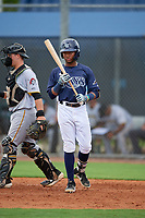 GCL Rays Christian Johnson (4) at bat during a Gulf Coast League game against the GCL Pirates on August 7, 2019 at Charlotte Sports Park in Port Charlotte, Florida.  GCL Rays defeated the GCL Pirates 5-3 in the second game of a doubleheader.  (Mike Janes/Four Seam Images)