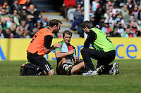 Nick Evans of Harlequins receives treatment to his shoulder during the Aviva Premiership match between Harlequins and Northampton Saints at the Twickenham Stoop on Saturday 4th May 2013 (Photo by Rob Munro)