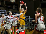 SIOUX FALLS, SD - MARCH 8: Heaven Hamling #11 of the North Dakota State Bison shoots over Liv Korngable #2 of the South Dakota Coyotes during the Summit League Basketball Tournament at the Sanford Pentagon in Sioux Falls, SD. (Photo by Dave Eggen/Inertia)