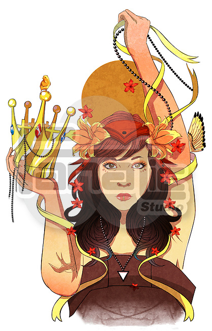 Illustrative image of successful young woman holding crown over white background