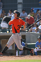 Jacob Julius #34 of the Frederick Keys at bat during a game against the Myrtle Beach Pelicans on May 2, 2010 in Myrtle Beach, SC.