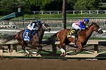ARCADIA, CA. SEPTEMEBER 29:  #6 Bellafina, ridden by Flavien Prat, into the turn taking the lead over #2 Del Mar May, ridden by Gary Stevens, in the Chandelier Stakes (Grade l) on September 29, 2018, at Santa Anita Park in Arcadia, CA.  (Photo by Casey Phillips/Eclipse Sportswire/CSM)