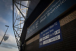 A sign advertising the evening's fixture pictured before West Bromwich Albion take on Leeds United in a SkyBet Championship fixture at the Hawthorns. Formed in 1878, the home team were relegated from the English Premier League the previous season and were aiming to close the gap on the visitors at the top of the table. Albion won the match 4-1 watched by a near-capacity crowd of 25,661.
