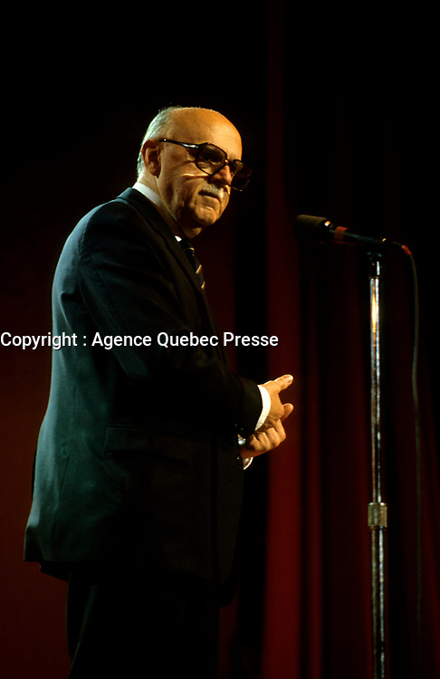 Montreal (Qc) CANADA -July 1985 File Photo - Jean Drapeau, Montreal Mayor on stage at Festival Juste Pour Rire