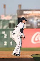 Alfredo Gonzalez (14) of the Lancaster JetHawks runs the bases during a game against the Lake Elsinore Storm at The Hanger on May 9, 2015 in Lancaster, California. Lancaster defeated Lake Elsinore, 3-1. (Larry Goren/Four Seam Images)