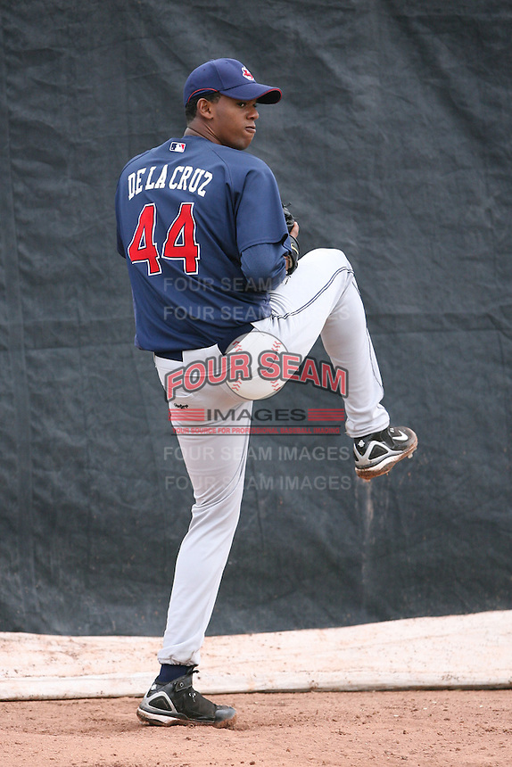 March 20th 2008:  Kelvin De La Cruz of the Cleveland Indians minor league system during Spring Training at Chain of Lakes Training Complex in Winter Haven, FL.  Photo by:  Mike Janes/Four Seam Images
