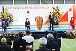 Yuriko Koike, Seiko Hashimoto, Masao Uchibori and Tamayo Marukawa participates in <br /> The Grand Start Ceremony for the Tokyo 2020 Olympic Torch Relay at Fukushima National Training Center J-Village on March 25, 2021, in Fukushima Prefecture, Japan.<br /> The Torch Relay will last 121 days and visit all of Japan's 47 prefectures. (Photo by Naoki Morita/AFLO SPORT)