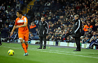 Pictured: Brendan Rodgers manager for Swansea (C) and Roy Hodgson manager for West Bromwich (R). Saturday, 04 February 2012<br /> Re: Premier League football, West Bromwich Albion v Swansea City FC v at the Hawthorns Stadium, Birmingham, West Midlands.