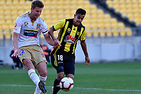 Newcastle Jets' Lachlan Jackson and Wellington Phoenix' Sarpreet Singh in action during the A League - Wellington Phoenix v Newcastle Jets at Westpac Stadium, Wellington, New Zealand on Sunday 21 October  2018. <br /> Photo by Masanori Udagawa. <br /> www.photowellington.photoshelter.com