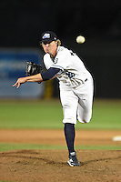 West Michigan Whitecaps pitcher Joe Mantiply (28) delivers a pitch during a game against the Great Lakes Loons on June 5, 2014 at Fifth Third Ballpark in Comstock Park, Michigan.  West Michigan defeated Great Lakes 6-2.  (Mike Janes/Four Seam Images)