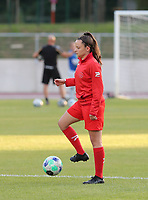 Anouck Cochez (4) of Woluwe at the warm up before a female soccer game between FC Femina White Star Woluwe and Club Brugge YLA on the second matchday in the 2021 - 2022 season of Belgian Scooore Womens Super League , Friday 27 th of August 2021  in Woluwe , Belgium . PHOTO SPORTPIX | SEVIL OKTEM