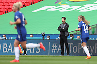 29th August 2020; Wembley Stadium, London, England; Community Shield Womens Final, Chelsea versus Manchester City; Manchester City Women Manager Gareth Taylor watches he action closely