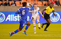HOUSTON, TX - JANUARY 28: Rose Lavelle #16 of the United States sends a ball downfield during a game between Haiti and USWNT at BBVA Stadium on January 28, 2020 in Houston, Texas.