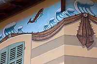 Europe/France/Provence-Alpes-Côte d'Azur/13/Bouches-du-Rhône/Cassis: détail fresque d'une maison d'armateur sur le port