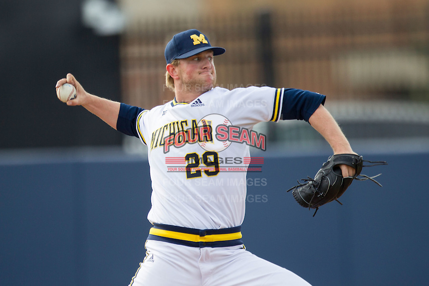 Michigan Wolverines pitcher Mac Lozer (29) delivers a pitch to the plate against the Toledo Rockets on April 20, 2016 at Ray Fisher Stadium in Ann Arbor, Michigan. Michigan defeated Bowling Green 2-1. (Andrew Woolley/Four Seam Images)
