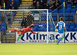 St Johnstone v Partick Thistle…08.08.17… McDiarmid Park.. Betfred Cup<br />Alan Mannus can't stop Ryan Edwards shot from hitting the back of the net<br />Picture by Graeme Hart.<br />Copyright Perthshire Picture Agency<br />Tel: 01738 623350  Mobile: 07990 594431