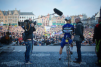 Tom Boonen (BEL/Etixx-QuickStep) interviewed pre-race on the start podium by Sporza commentator Michel Wuyts<br /> <br /> 100th Ronde van Vlaanderen 2016