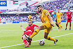 Aziz Behich of Australia (R) fights for the ball with Feras Zeyad Shilbaya of Jordan (L) during the AFC Asian Cup UAE 2019 Group B match between Australia (AUS) and Jordan (JOR) at Hazza Bin Zayed Stadium on 06 January 2019 in Al Ain, United Arab Emirates. Photo by Marcio Rodrigo Machado / Power Sport Images