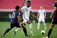 ZAPOPAN, MEXICO - MARCH 21: Andres Perea #15 of the United States moves with the ball during a game between Dominican Republic and USMNT U-23 at Estadio Akron on March 21, 2021 in Zapopan, Mexico.