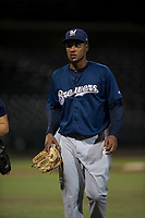 AZL Brewers relief pitcher Johan Dominguez (47) walks off the field after suffering a bloody nose during an Arizona League game against the AZL Cubs 1 at Sloan Park on June 29, 2018 in Mesa, Arizona. The AZL Cubs 1 defeated the AZL Brewers 7-1. (Zachary Lucy/Four Seam Images)