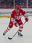 31 December 2013: Former Detroit Red Wings forward and former captain Steve Yzerman (19) skates during the Toronto Maple Leafs v Detroit Red Wings Alumni Showdown hockey game, at Comerica Park, in Detroit, MI.