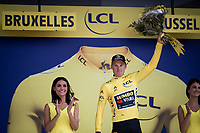 Mike Teunissen (NED/Jumbo-Visma) receiving his 2nd yellow jersey<br /> <br /> Stage 2 (TTT): Brussels to Brussels(BEL/28km) <br /> 106th Tour de France 2019 (2.UWT)<br /> <br /> ©kramon