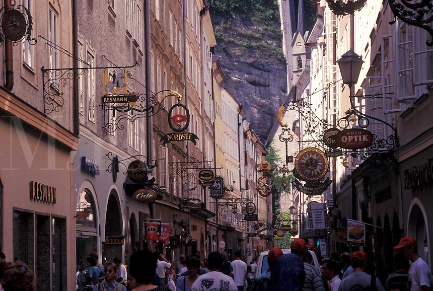 Salzburg, Austria, Wrought-iron shop signs in Getreidegasse in downtown Salzburg.