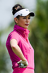 HAIKOU, CHINA - OCTOBER 29:  Hollywood actress Catherine Zeta-Jones waits for tee off on the 15th hole during day three of the Mission Hills Start Trophy tournament at Mission Hills Resort on October 29, 2010 in Haikou, China. The Mission Hills Star Trophy is Asia's leading leisure liflestyle event which features Hollywood celebrities and international golf stars. Photo by Victor Fraile / The Power of Sport Images