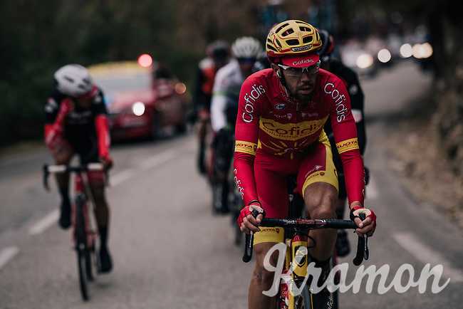 Spanish National Champion Jesús Herrada (ESP/Cofidis) in the misty breakaway<br /> <br /> 76th Paris-Nice 2018<br /> Stage 7: Nice > Valdeblore La Colmiane (175km)