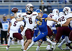 BROOKINGS, SD - MAY 2: Stone Labanowitz #6 of the Southern Illinois Salukis passes the ball against the South Dakota State Jackrabbits at Dana J Dykhouse Stadium on May 2, 2021 in Brookings, South Dakota. (Photo by Dave Eggen/Inertia)