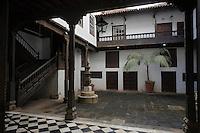 Europe/Espagne/Iles Canaries/Tenerife/ La Orotava : Détail Patio d'une vieille  demeure canarienne Muséo de Artesania Iberoamericana