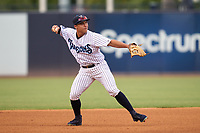 Tampa Tarpons shortstop Anthony Volpe (12) throws to first base during a game against the Fort Myers Mighty Mussels on May 19, 2021 at George M. Steinbrenner Field in Tampa, Florida. (Mike Janes/Four Seam Images)