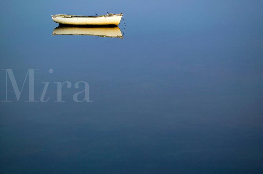Row boat on tranquil water. Bulls Neck Bay, NY