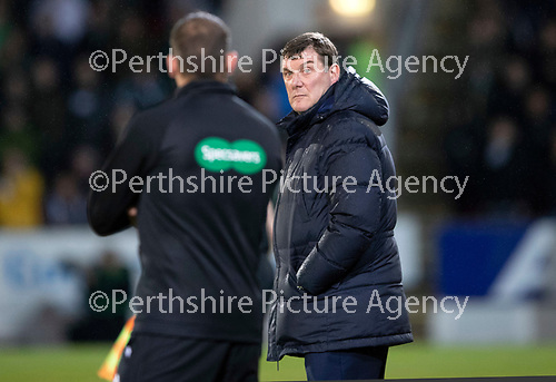 St Johnstone v Celtic…26.09.18…   McDiarmid Park     BetFred Cup Quarter Final<br />Tommy Wriht looks bak at 4th official Gavin Duncan<br />Picture by Graeme Hart. <br />Copyright Perthshire Picture Agency<br />Tel: 01738 623350  Mobile: 07990 594431