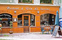 The restaurant Bistrot a Vin de Serine in Ampuis. Serine is local patois for Syrah.  Ampuis, Cote Rotie, Rhone, France, Europe