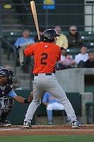 Frederick Keys infielder Ty Kelly #2 at bat during a game against the Myrtle Beach Pelicans at Tickerreturn.com Field at Pelicans Ballpark on April 24, 2012 in Myrtle Beach, South Carolina. Frederick defeated Myrtle Beach by the score of 8-3. (Robert Gurganus/Four Seam Images)
