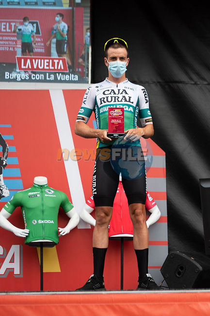 Aritz Bagües (ESP) Caja Rural-Seguros RGA most aggressive rider from yesterday's stage at sign on before the start of Stage 9 of La Vuelta d'Espana 2021, running 188km from Puerto Lumbreras to Alto de Velefique, Spain. 22nd August 2021.    <br /> Picture: Cxcling   Cyclefile<br /> <br /> All photos usage must carry mandatory copyright credit (© Cyclefile   Cxcling)